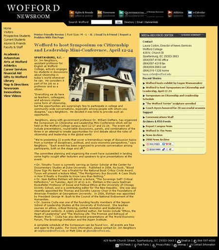 wofford news release screenshot 450 Introducing Woffords Redesigned Newsroom