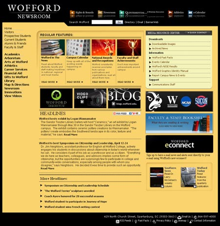 wofford newsroom screenshot 450 Introducing Woffords Redesigned Newsroom