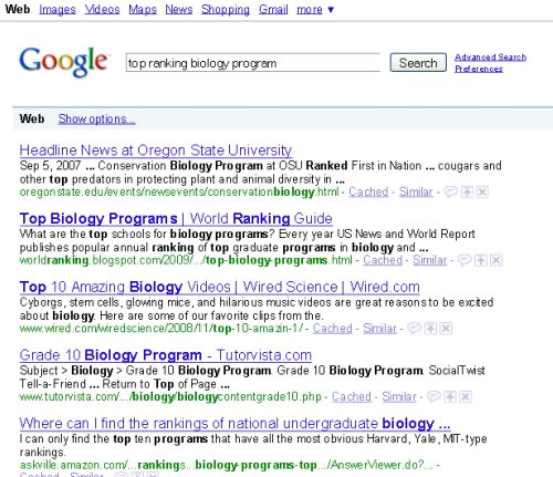 top ranking biology program results 500 Page Titles and Meta Descriptions: Your Search Calls to Action